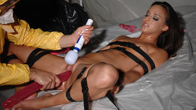 shaved milf blows cock