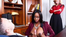 big tits ebony suck cock in office