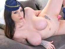 Recreational Penetration - Voluptuous Flight Attendant Masturbates
