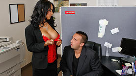brunette girl gets a lot of cum in office