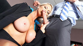 big tits blonde milf in lingerie gets a lot of cum