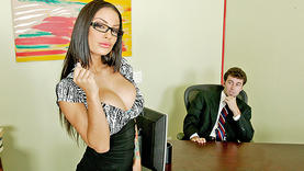 big tits angelina valentine gets facial in office