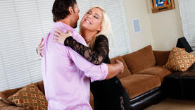 pierced blonde milf gives a good blow job